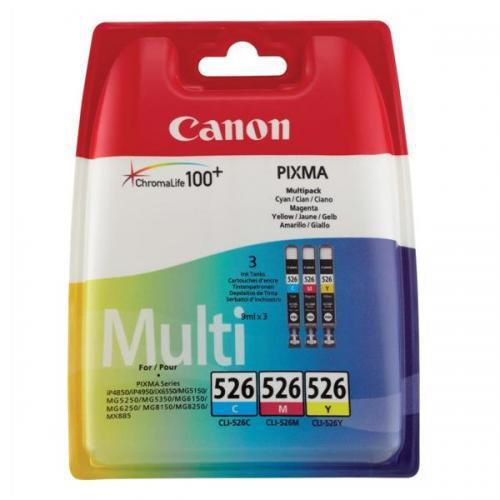 Canon CLI-526 Inkjet Cart PageLife 207pp Cyan/204pp Magenta/202pp Yellow Ref 4541B009 [Pack 3]