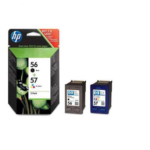 HewlettPackard [HP] No.56 &57 InkjetCartPageLife Black520pp/Tri-Colour500pp 19ml/17mlRef SA342AE[Pack 2]