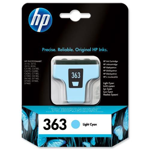 Hewlett Packard [HP] No.363 Inkjet Cartridge Page Life 220pp 5.5ml Light Cyan Ref C8774EE