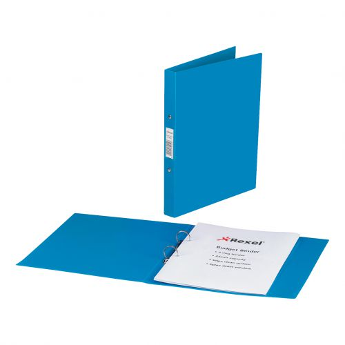 Rexel Budget Ring Binder Semi-rigid Polypropylene 2 O-Ring 25mm Size A4 Blue Ref 13422BU [Pack 10]