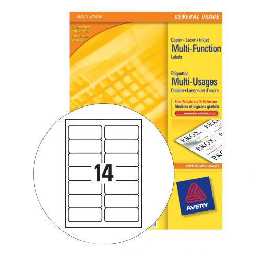 Avery Multipurpose Labels Laser Copier Inkjet 14 per Sheet 105x42.3mm White Ref 3653 [1400 Labels]