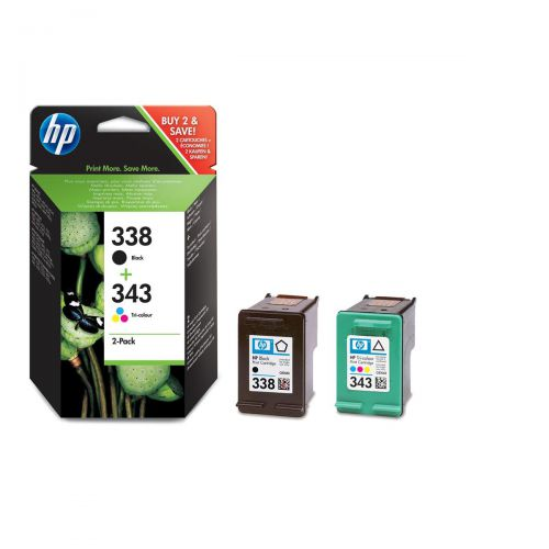 Hewlett Packard [HP] No.338&343 InkjetCart PageLife480pp Blk 11ml /Tri-Col330pp 7ml Ref SD449EE [Pack 2]