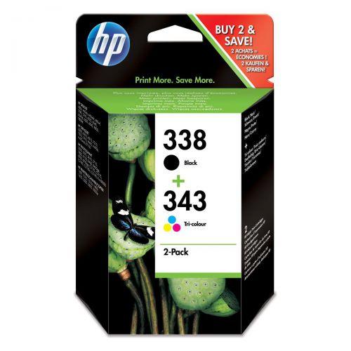 Hewlett Packard [HP] No.338&343 InkjetCart PageLife480pp Blk 11ml /Tri-Col330pp 7ml Ref SD449EE [Pack 2]