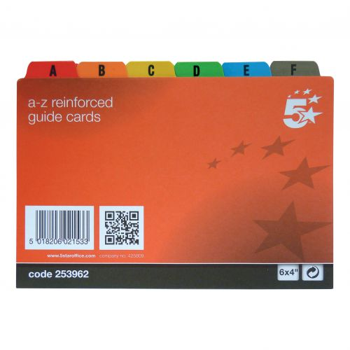 5 Star Office Guide Card Set A-Z Reinforced 6x4in 152x102mm White with Tabs Multicoloured