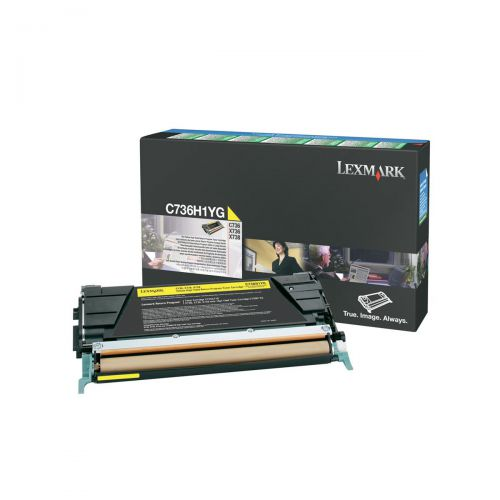 Lexmark C736/X736/X738 Laser Toner Cart HighYield Return Programme Page Life 10000pp Yellow Ref C736H1YG