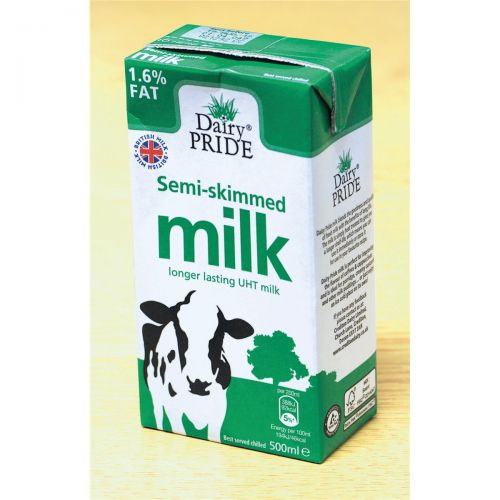 Dairy Pride Semi Skimmed Milk UHT 500ml Ref 256419 [Pack 12]