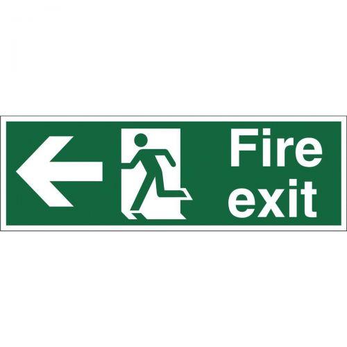 Stewart Superior Fire Exit Sign Man and Arrow Left W450xH150mm Self-adhesive Vinyl Ref SP120SAV