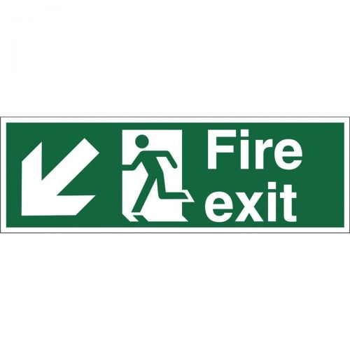 Stewart Superior Fire Exit Sign Man and Arrow Down Left W450xH150mm Self-adhesive Vinyl Ref SP122SAV