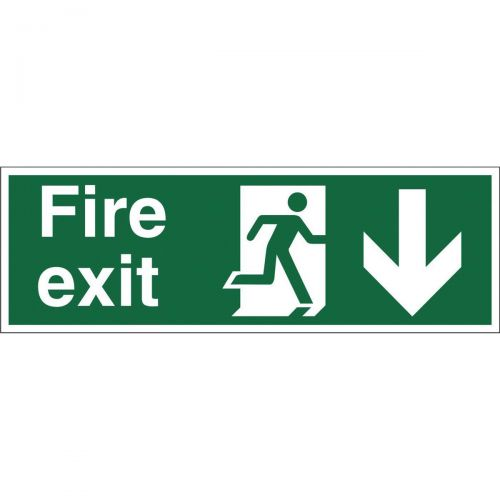 Stewart Superior Fire Exit Sign Man and Arrow Down W450xH150mm Self-adhesive Vinyl Ref SP124SAV