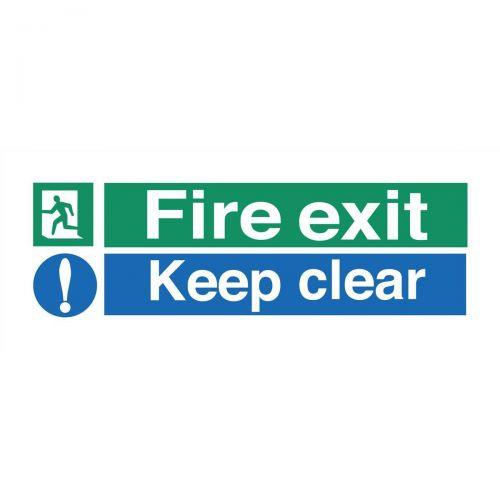 Stewart Superior Fire Exit Sign Keep Clear W450xH150mm Polypropylene Ref SP126PVC