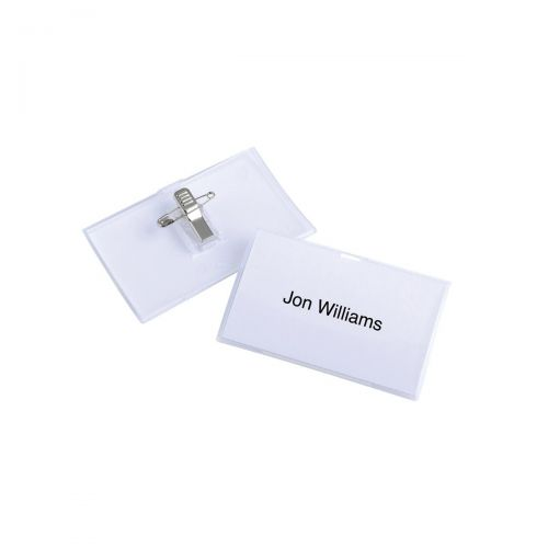 Durable Name Badge Click Fold Polypropylene Combi Clip and Insert 54x90mm Ref 8214/19 [Pack 25]