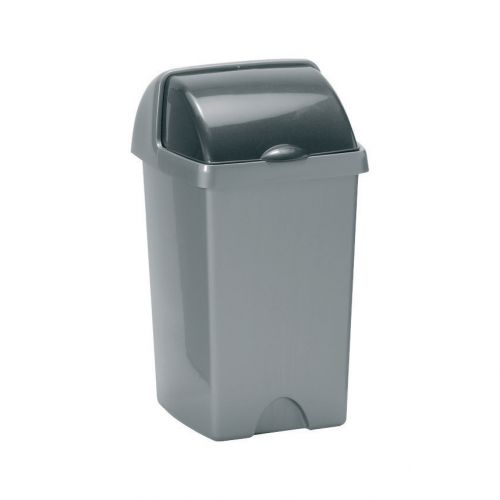 Addis Roll Top Bin Plastic 25 Litres Metallic Silver