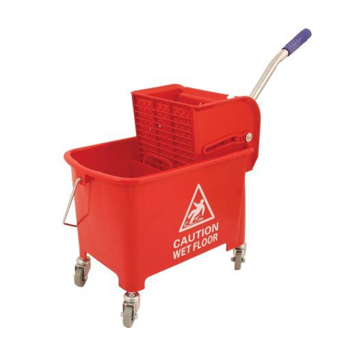 Mop Bucket Mobile Colour Coded with Handle 4 Castors 20 Litre Red