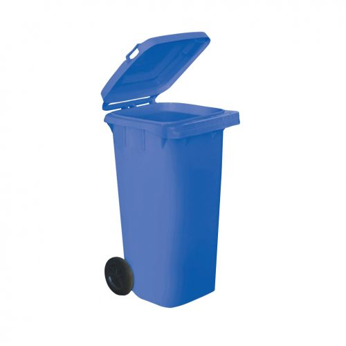 Wheelie Bin High Density Polyethylene with Rear Wheels 120 Litre Capacity 480x560x930mm Blue