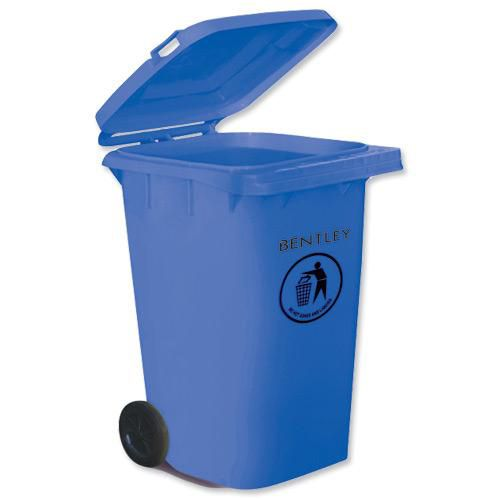 Wheelie Bin High Density Polyethylene with Rear Wheels 240 Litre Capacity 580x740x1070mm Blue