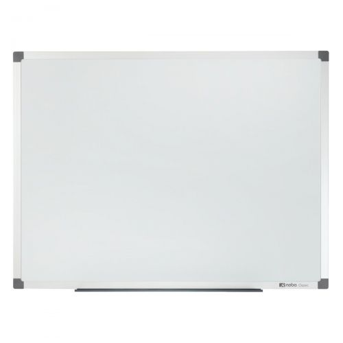 Nobo Classic Nano Drywipe Board Magnetic Steel with Fixings Slim Frame W1800xH900mm White Ref 1902645