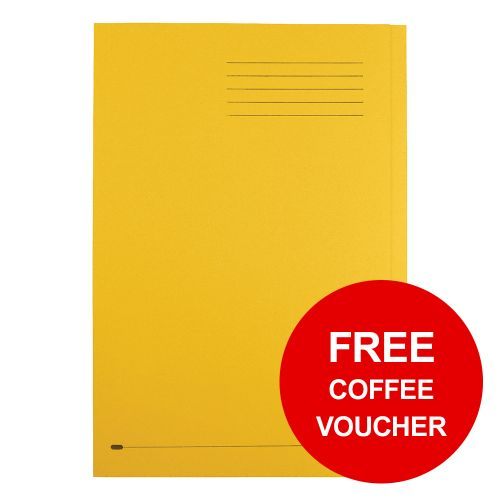 Elba StrongLine Square Cut Folder 320gsm 32mm Foolscap Yellow Ref 100090023 [Pack 50] [REDEMPTION]