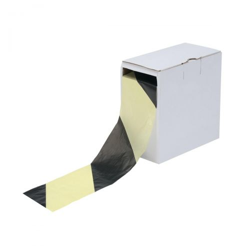 5 Star Office Barrier Tape in Dispenser Box 70mmx500m Yellow and Black