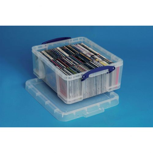 Really Useful Storage Box Plastic Lightweight Robust Stackable 18 Litre W390xD480xH200mm Clear Ref 18C