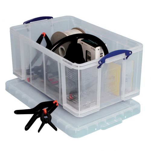 Really Useful Storage Box Plastic Lightweight Robust Stackable 64 Litre W440xD710xH310mm Clear Ref 64C