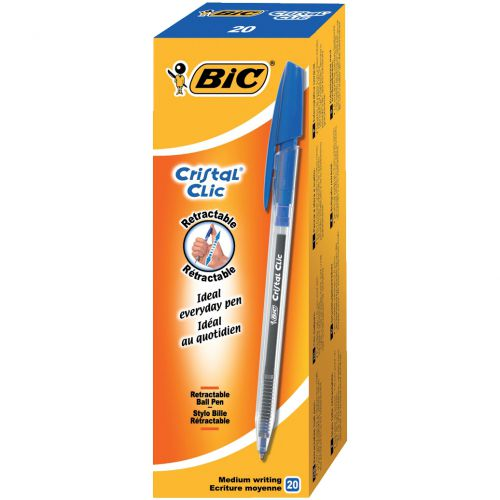 BIC Cristal Clic Ball Pen Retractable Medium 1.0mm Tip 0.32mm Line Blue Ref 850733 [Pack 20]