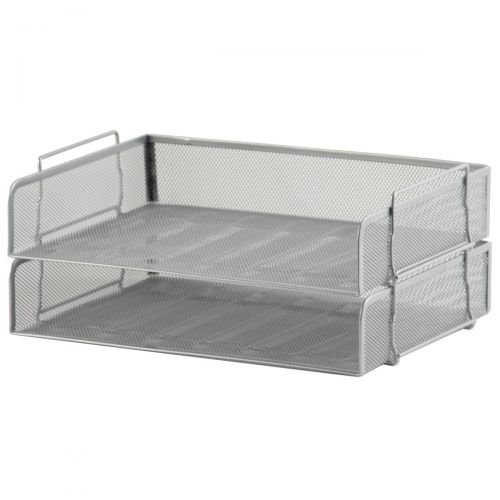 5 Star Office Mesh Letter Tray Scratch Resistant Stackable Side Load Landscape Foolscap Silver