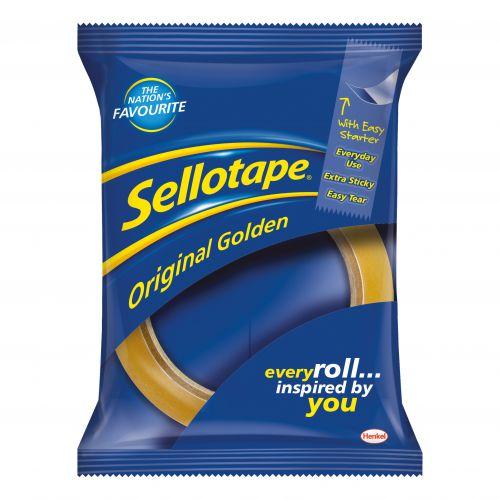 Sellotape Original Golden Tape Roll Non-static Easy-tear Large 18mmx66m Ref 1443252 [Pack 16]