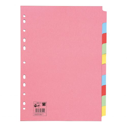 5 Star Office Subject Dividers 10-Part Recycled Card Multipunched 155gsm A4 Assorted