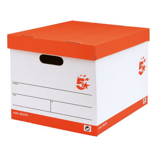 5 Star Office FSC Storage Box With Lid Self-Assembly Red & White [Pack 10]