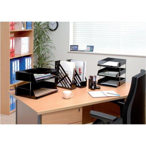 5 Star Office Letter Tray High-impact Polystyrene Foolscap Black