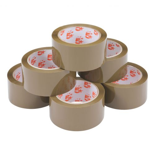 5 Star Office Packaging Tape Polypropylene 48mm x 66m Buff [Pack 6]