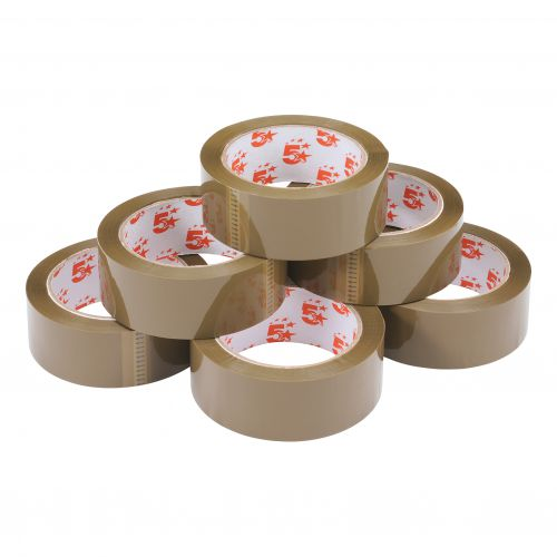 5 Star Office Packaging Tape Polypropylene 38mm x 66m Buff [Pack 6]