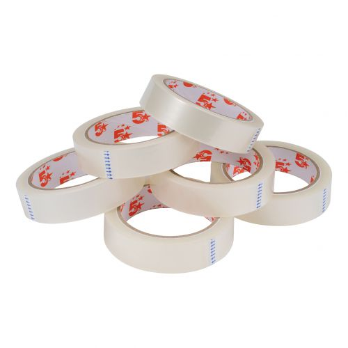 5 Star Office Clear Tape Roll Large Easy-tear Polypropylene 40 Microns 24mm x 66m [Pack 6]