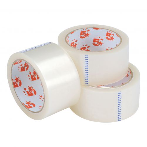 5 Star Office Clear Tape Roll Large Easy-tear Polypropylene 40 Microns 48mm x 66m [Pack 3]