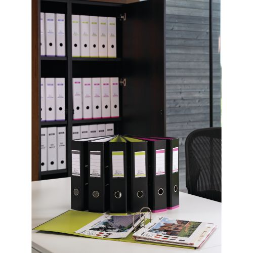 Elba MyColour Lever Arch File Polypropylene Capacity 80mm A4+ Black and Pink Ref 100081035