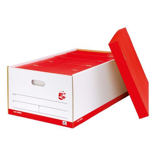 5 Star Office Jumbo Storage Box Red & White FSC [Pack 5]