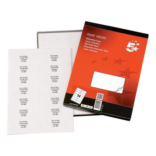 5 Star Office Multipurpose Labels Laser Copier Inkjet 14 per Sheet 99.1x38.1mm White [1400 Labels]