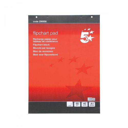 5 Star Office Flipchart Pad Perforated 40 Sheets A1 [Pack 5]