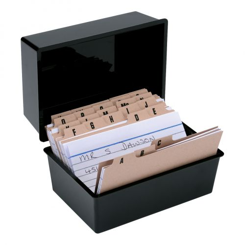 Image for 5 Star Office Card Index Box Capacity 250 Cards 5x3in 127x76mm Black