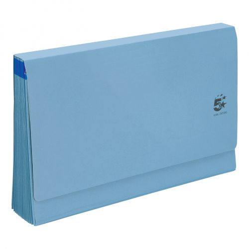 5 Star Office De Luxe Expanding File 16 Pockets 1-31 A-Z Jan-Dec Cardboard Cover Foolscap Blue