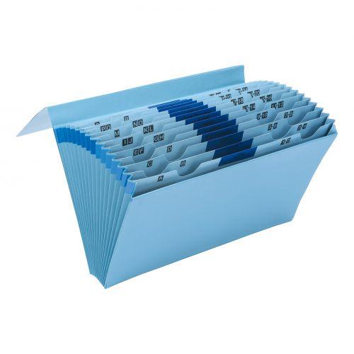 5 Star Office De Luxe Expanding File 16 Pockets 1-31 A-Z Jan-Dec Foolscap Blue