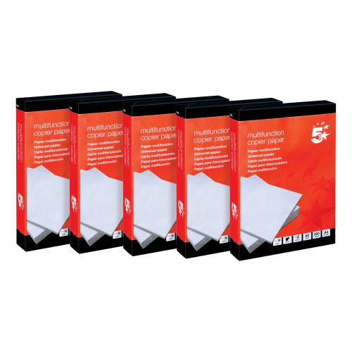 5 Star Office Copier Paper Multifunctional Ream-Wrapped 80gsm A4 White [5 x 500 Sheets]