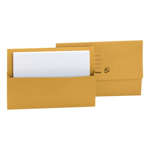 5 Star Office Document Wallet Half Flap 250gsm Recycled Capacity 32mm Foolscap Yellow [Pack 50]