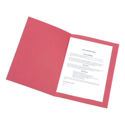 5 Star Office Square Cut Folder Recycled Pre-punched 250gsm Foolscap Red [Pack 100]