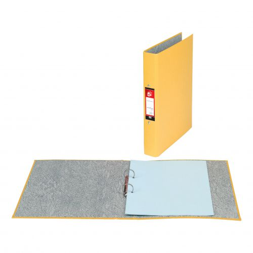 5 Star Office Ring Binder 2 O-Ring Size 25mm Paper on Board A4 Yellow [Pack 10]