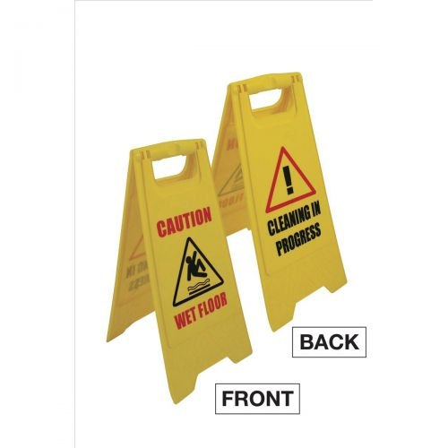 Single A Frame Sign 2 Sided 2 Messages Caution Wet Floor/Cleaning in Progress Yellow STF2019