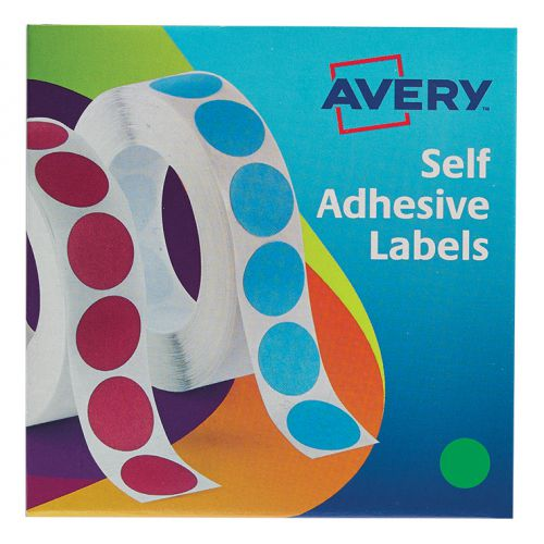 Avery Labels in Dispenser on Roll Round Diam.19mm Green Ref 24-507 [1120 Labels]