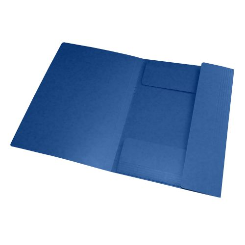 Elba Eurofolio Folder Elasticated 3-Flap 450gsm A4 Blue Ref 100200978 [Pack 10]