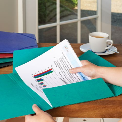 Elba Eurofolio Folder Elasticated 3-Flap 450gsm A4 Assorted Ref 100200976 [Pack 10]