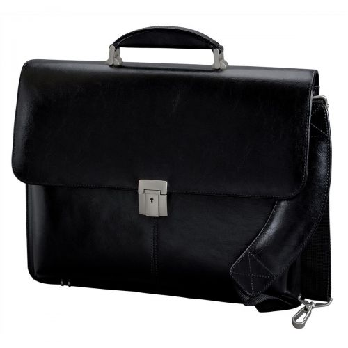 Alassio Briefcase Multi-section with Shoulder Strap Leather Black Ref 47011